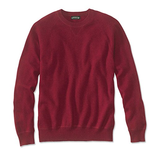 Orvis Men's Wool/Cashmere Notch Crew Sweater, Red, Xx Large