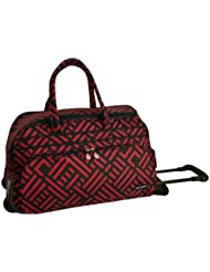 Jenni Chan Signature Deluxe Carry-All Rolling Duffel, Black/Red, One Size