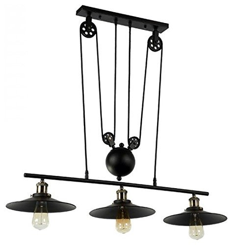 (Modeen Vintage-Style Iron Regulator Can lift up and down adjust Island Ceiling light chandelier lamp barn warehouse Pendant lights Without Lens Shades, Matte Black [Energy Class A++])