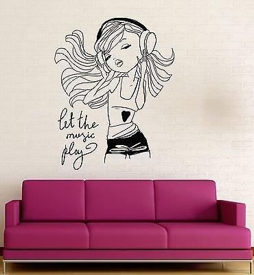 Girls Bedroom Wall Border'' (Teen Girl Music Headphones Room Decoration Wall Stickers Vinyl Decal VS121)