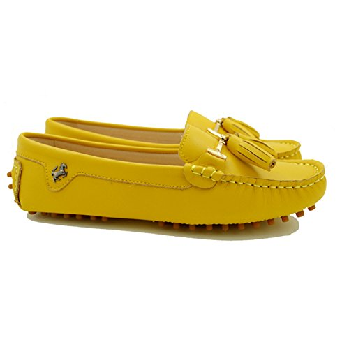 Indoor Smooth Miyoopark yellow Leather Loafers Women's Casual Leather Outdoor Flats Suede Slippers Tassel wwgUx04q