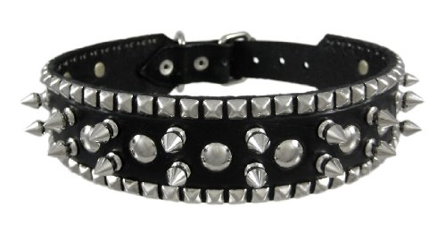 28″ Black Leather Spiked / Studded Dog Collar Large, My Pet Supplies