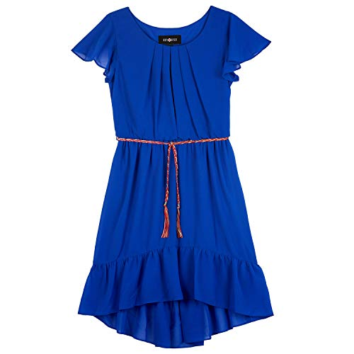 (Amy Byer Girls' Big Cap Sleeve High-Low Blouson Day Dress, neon Cobalt, 16)