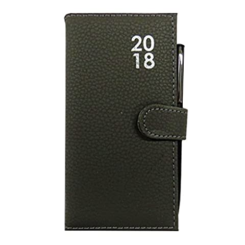 2018 Slim Pocket, Purse Faux Leather Soft Touch Diary and Pen - Week to View - 6.3