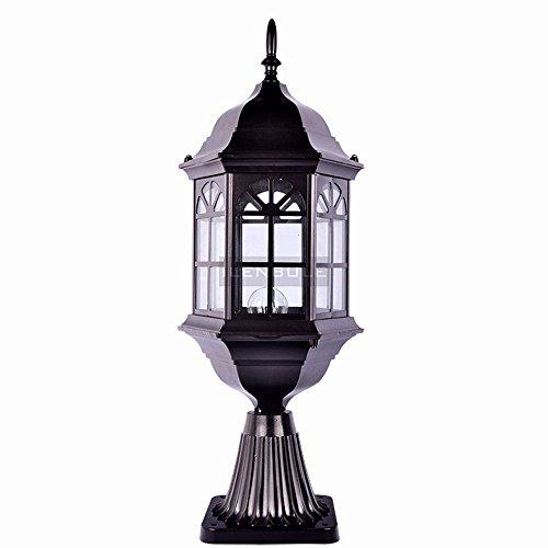 Table Black Lamp Column (Modeen 54CM Continental Creative Black Glass Outdoor Table Lamp Column Lamp Modern Simple Waterproof Desk Table Lawn Lights Street Post Light E27 Decoration for Patio Villa Fence Gate)