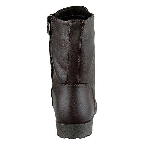 Womens Boots Snörning Blixtlås Motorcykel Skor Brun Brun