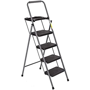 Delxo Folding 3 Step Ladder With Rolling Wheels 2 In 1