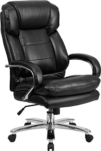 (StarSun Depot Hercules Series 24/7 Intensive Use Big & Tall 500 lb. Rated Black Leather Executive Swivel Chair with Loop Arms 28