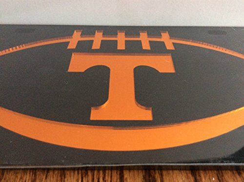 Tennessee Volunteers Black Laser Cut Football License Plate Auto Tag, Black / Orange