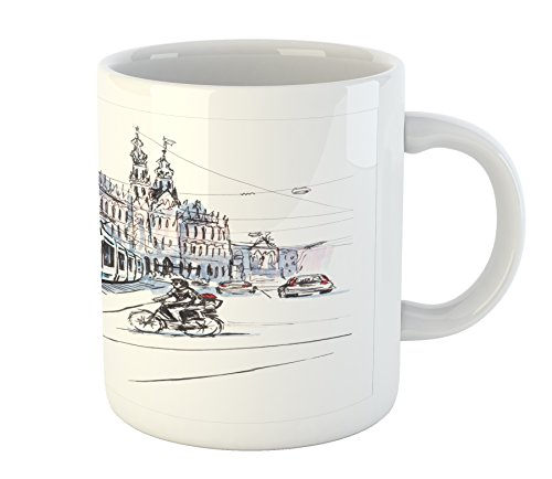 Ambesonne Sketchy Mug, Hand Drawn Tram and Bicyclists Cityscape of Amsterdam Netherlands Urban Life, Printed Ceramic Coffee Mug Water Tea Drinks Cup, Blue Lilac White