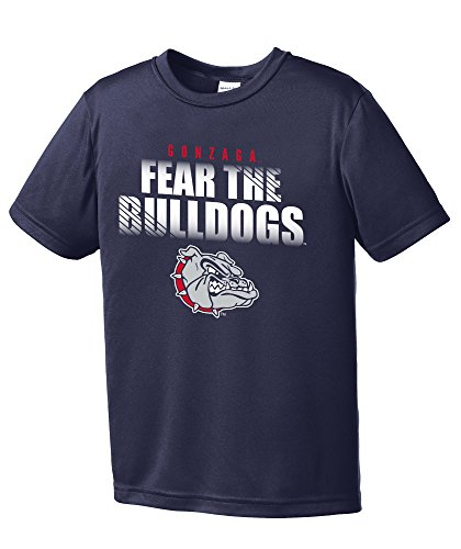 NCAA Gonzaga Bulldogs Boys Fear Short Sleeve Polyester Competitor T-Shirt, Youth Small,Navy