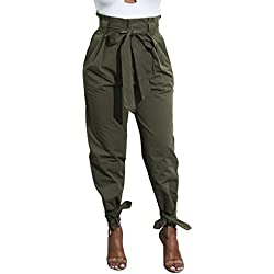 Yissang Women's Casual Loose High Waist Long Pencil Pants with Belt Bow Tie Army Green X-Large