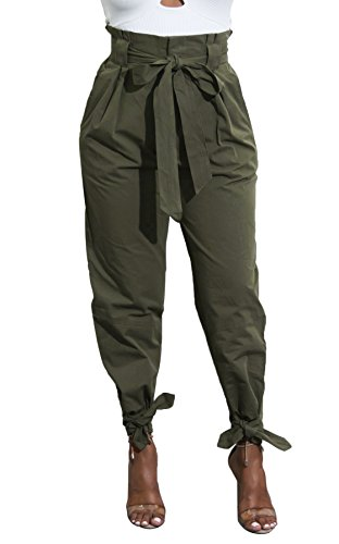 Yissang Women's Casual Loose Paper Bag Waist Long Pants Trousers with Bow Tie Belt Pockets Army Green -