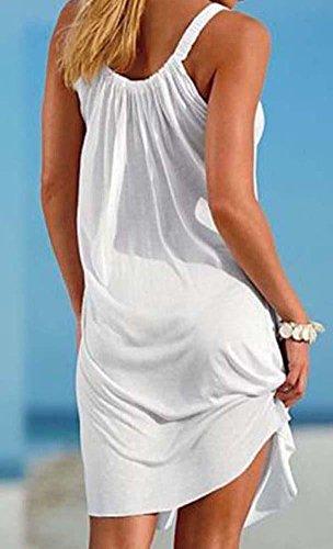 Mini Camisunny White Beach Bikini Sleeveless Casual Summer Cover Dress Loose Swimsuit Women up rZwZIBxq