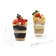 Impress Your GuestsHallGems Premium Super Clear Dessert Cups add elegance to your dessert and make it look like you've spent hours creating them! The sleek cube design and clear body style cups make your dessert creation the highlight of your...