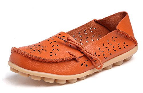 VenusCelia Women's Breathable Comfort Walking Flat Loafer(6 M US,Orange)]()
