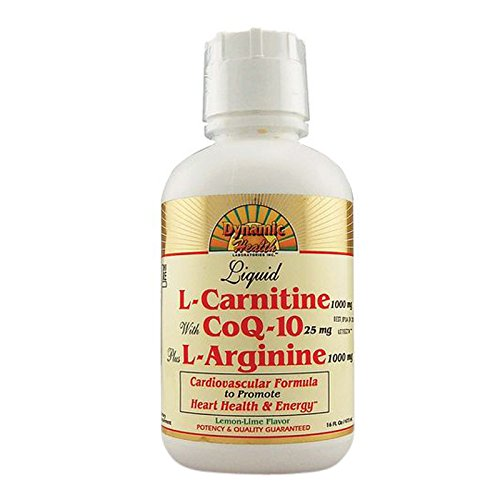 Dynamic Health Liquid L-carnitine With Coq-10 Plus L-arginine Lemon Lime, 16 (Coq10 Plus L-arginine)