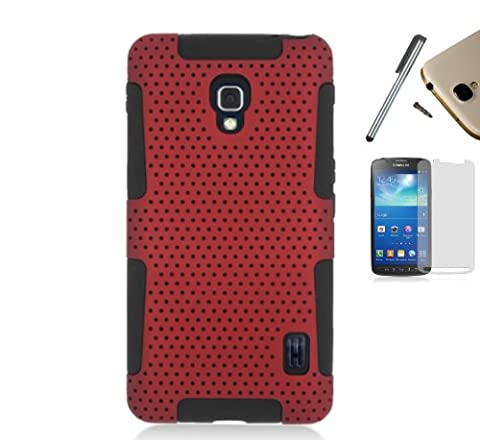 For Lg Optimus F6 D500 Ms500 (MetroPcs, T-Mobile) Dual Layer Astronoot Mesh Fishnet Hybrid Hard Case Silicone Gel Skin Cover + [WORLD ACC] TM Brand LCD Screen Protector + Silver Stylus Pen + Black Dust Cap Free Gift (Red / Black (Lg F6 Silicone Case)