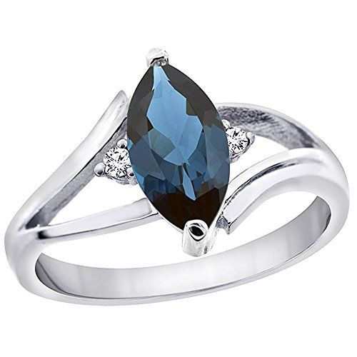 Silver City Jewelry 14K White Gold Natural London Blue Topaz Ring Marquise 10x5mm Diamond Accent, Size 7 (Solitaire Si1 Marquise Diamond Shape)