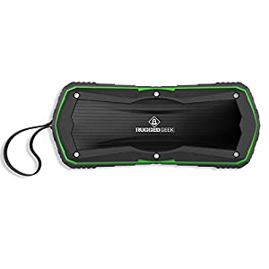 RUGGED GEEK JOLT5 10W X-Bass Wireless Portable Bluetooth Speaker and USB Power Bank - Green. IP65 Water and Dust Resistant with 5200mAh Samsung Battery.