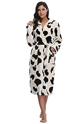 The Bund Women's Long Plush Fleece Hooded Bathrobe Ultra-Soft and Warm Winter Wrap Robe