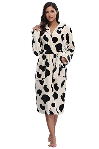 Kimono Outlet Women's Animal Print Cozy Plush Robe Hooded -