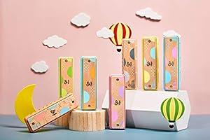 Hape Blues Harmonica | 10 Hole Wooden Musical Instrument Toy for Kids, Blue (E8915) (Color: Blue)