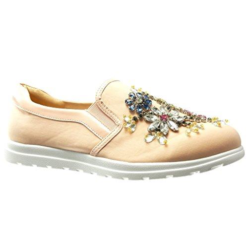 Angkorly - Scarpe da Moda Sneaker Mocassini slip-on suola di sneaker donna fiori gioielli fantasia Tacco tacco piatto 0 CM - Rosa