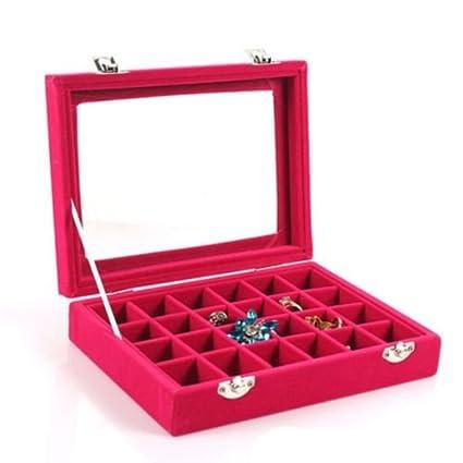 Amazoncom Velvet Glass Jewelry Ring Display Organizer Box Tray