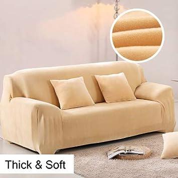 90~140Cm L/&WB Copridivani 1//2//3//4 Posti Pure Color Sofa Protector Velluto Easy Fit Elastic Fabric Stretch Couch Slipcover,A,1Seat