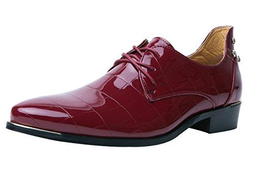 Santimon Oxford Schoenen Mannen Puntschoen Lakleer Veterschoenen Klinknagel Schoenen Door Rood