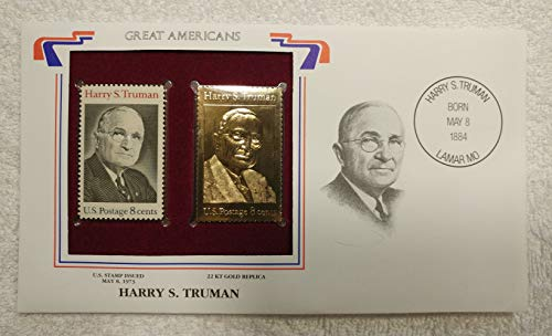 Harry S. Truman - Great Americans - Postage Stamp (1973) & 22kt Golden Replica Stamp plus Info Card - Postal Commemorative Society, 2001 - President