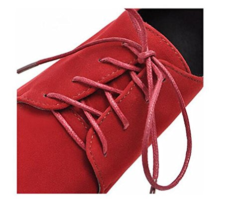 de de Encaje de Mate de 36 White Tacón Cuero Embellecido Corte Up RED Zapatos XIE Meters Shoes Cuña 39 Retro Baja de Superficie YqwAZXv