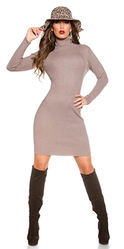 figurbetontes koucla Cuello Alto vestido de punto para–canalé Mini vestido Long–Sudadera para hombre Cappuccino