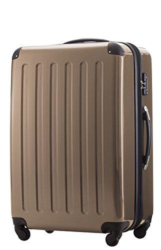HAUPTSTADTKOFFER® Hartschalen Koffer · 3 Koffergrößen (42 L · 74 L · 119 L) · Hochglanz · Entweder mit Normalen oder TSA Zahlenschloss + DESIGN KOFFERANHÄNGER (SET TSA Schloss, Champagner)
