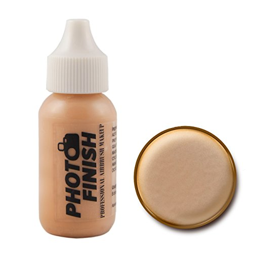 Photo Finish Professional Airbrush Makeup Foundation, airbrush makeup, water and sweat resistant, long-wearing, works with airbrush makeup kits (1 fl oz, Fairly Medium Luminous)