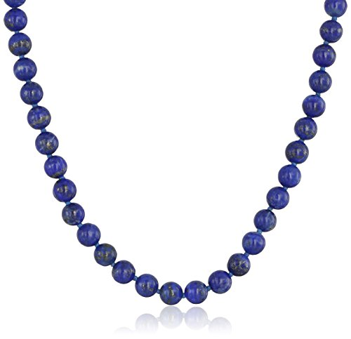 Sterling Silver 6mm Lapis Lazuli Necklace, 24'' by Amazon Collection