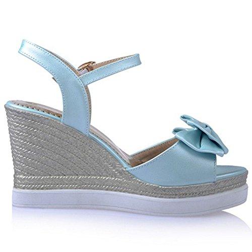 Coolcept Zapato Mujer Moda Casual Punta Abierta Tacon Alto Plataforma Tacon de Cunas Verano Sandalias Azul