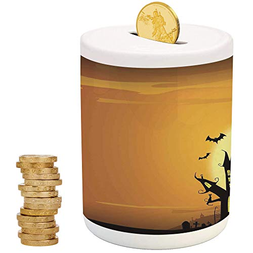 Halloween Decorations,Ceramic Child Bank,Printed Ceramic Coin Bank Money Box for Cash Saving,Gothic Haunted House Bats Western Spooky Night Scene with -
