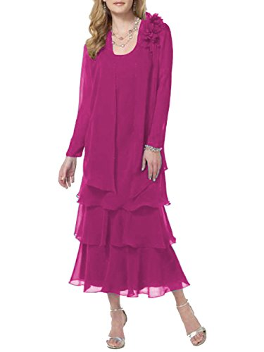 ModeC Tea Length Mother of The Bride Dresses Chiffon Tiered 2 Pcs Formal Gowns Fuchsia US14