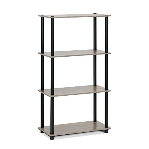 Store Display Shelves - Furinno (99557GYW/BK) Turn-N-Tube 4-Tier Multipurpose Shelf Display Rack - French Oak Grey/Black