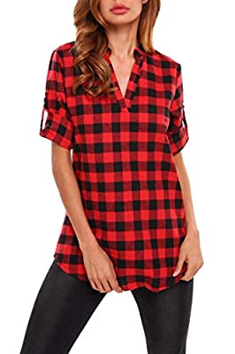 Fanala Womens Casual 3/4 Cuffed Sleeve V-Neck Plaid Shirts Pullover Tunic Top