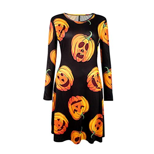 Trendy Halloween Costume Long-sleeved O-neck Dress with Pumpkin Print Pattern for Women for Halloween Christmas