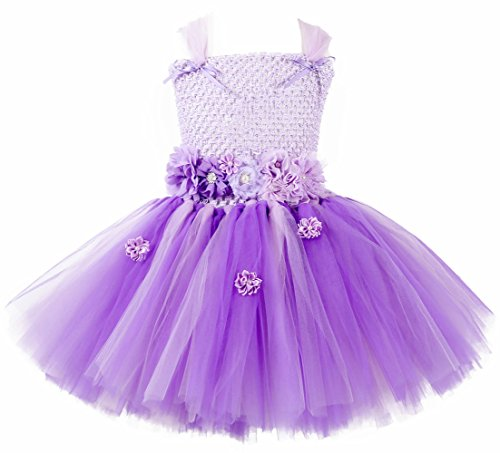 Batgirl Tutu Costume (Tutu Dreams Purple Girls Princess Costumes with Flower Sash (M, Sofia))