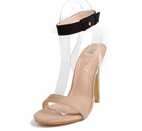 Scarpe YCMDM donne trasparenti Film col tacco alto in pelle scamosciata dei  sandali , apricot ,