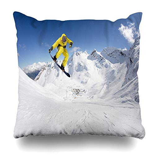 Ahawoso Throw Pillow Cover Square 16x16 Rider Blue Active Flying Snowboarder On Mountains Extreme Ski Sport Parks Action Recreation Alps Board Zippered Cushion Case Home Decor Pillowcase