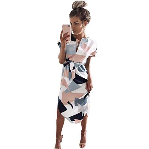 Yiitay Donna Estate 2017 Manica Corta Vestito Sexy V-collare Abito Geometric Printed Vestito