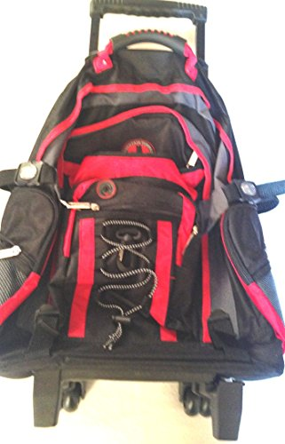 Mountain Terrain Adventure backpack on roller blade wheels new CD port red black