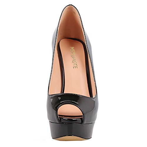 Merumote Zapatos De Plataforma De Tacón Alto Para Mujer Peep Toe Pumps For Dress Wedding Party Negro