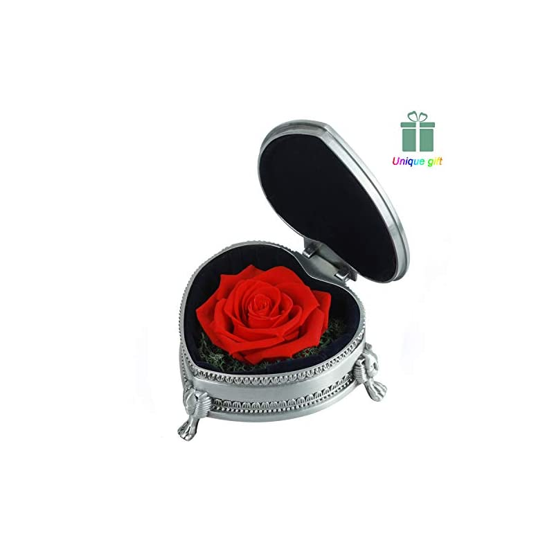 """silk flower arrangements preserved roses - preserved flower, handmade red rose present, exquisite upscale immortal flowers best gift for female birthday, anniversary, valentine's day, christmas, width 3.85"""", height 1.75"""""""